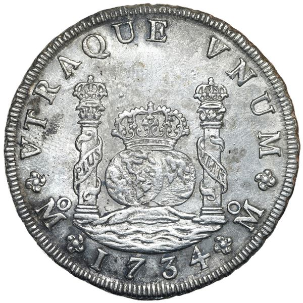 Mexico City, Mexico, pillar 8 reales, Philip V, 1734 MF, NGC UNC details / saltwater damage, tooled