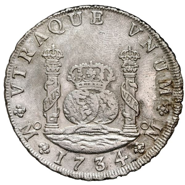 Mexico City, Mexico, pillar 8 reales, Philip V, 1734 MF, NGC AU details / saltwater damage / Rooswij
