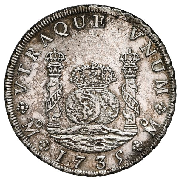 Mexico City, Mexico, pillar 8 reales, Philip V, 1735 MF, NGC UNC details / cleaned / Rooswijk (1739)