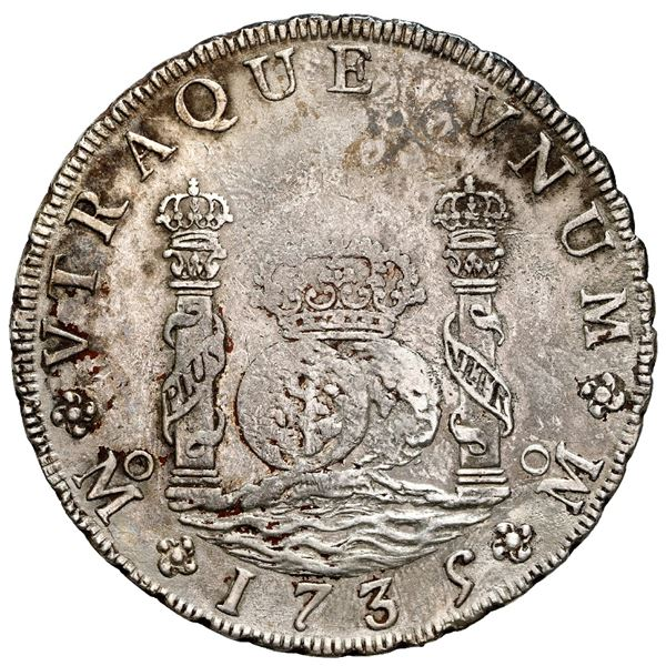 Mexico City, Mexico, pillar 8 reales, Philip V, 1735 MF, NGC AU details / saltwater damage, cleaned