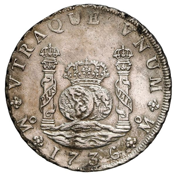 Mexico City, Mexico, pillar 8 reales, Philip V, 1736 MF, NGC UNC details / saltwater damage, cleaned