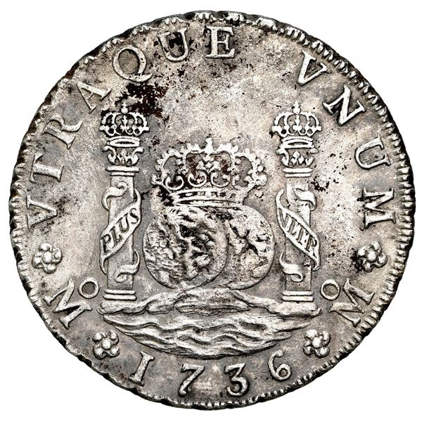 Mexico City, Mexico, pillar 8 reales, Philip V, 1736 MF, NGC AU details / saltwater damage / Rooswij