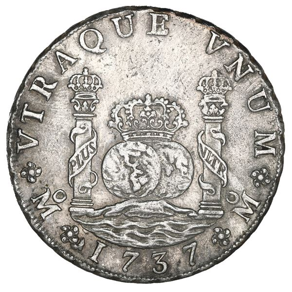 Mexico City, Mexico, pillar 8 reales, Philip V, 1737 MF, NGC UNC details / saltwater damage / Rooswi
