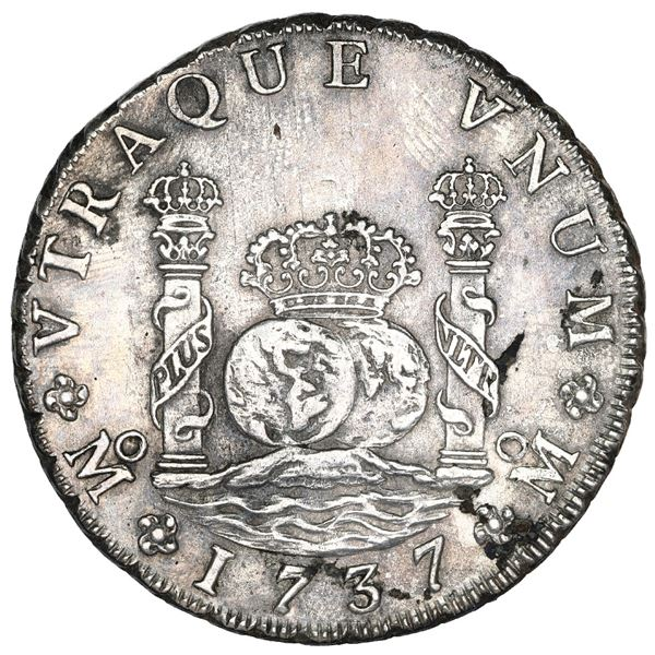 Mexico City, Mexico, pillar 8 reales, Philip V, 1737 MF, NGC UNC details / sea salvaged / Rooswijk (