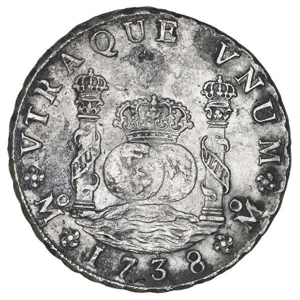 Mexico City, Mexico, pillar 8 reales, Philip V, 1738 MF.