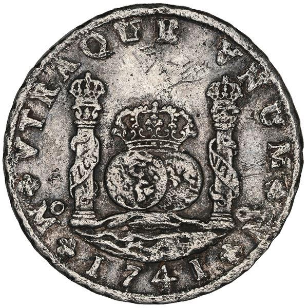 Mexico City, Mexico, pillar 8 reales, Philip V, 1741MF, AU details / sea salvaged / St. Geran (1744)