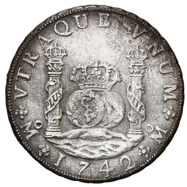 Mexico City, Mexico, pillar 8 reales, Philip V, 1742 MF.