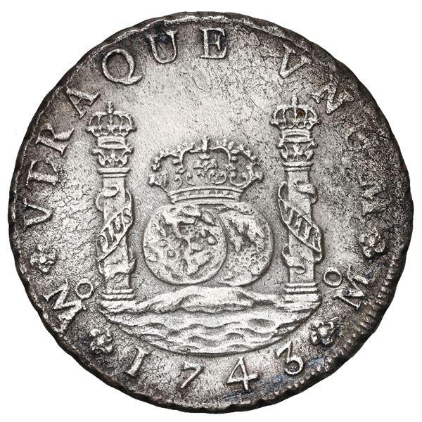 Mexico City, Mexico, pillar 8 reales, Philip V, 1743 MF.