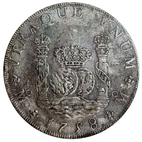 "Mexico City, Mexico, pillar 8 reales, Ferdinand VI, 1758 MM, PCGS genuine / shipwreck ""Auguste"" (176"
