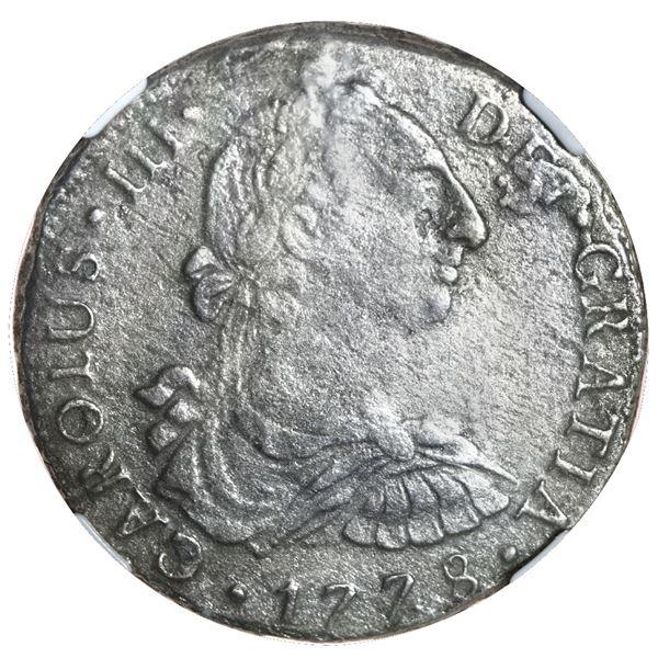 Lima, Peru, bust 8 reales, Charles III, 1778 MJ, NGC El Cazador / genuine.