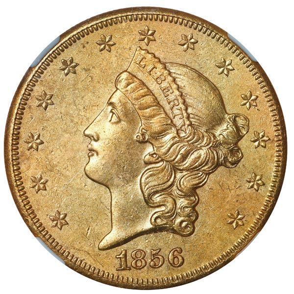 USA (San Francisco mint), gold $20 coronet Liberty double eagle, 1856-S, NGC UNC details / sea salva
