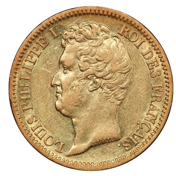 France (Paris mint), gold 20 francs, Louis Philippe I, 1831-A, incuse edge lettering variety, PCGS A