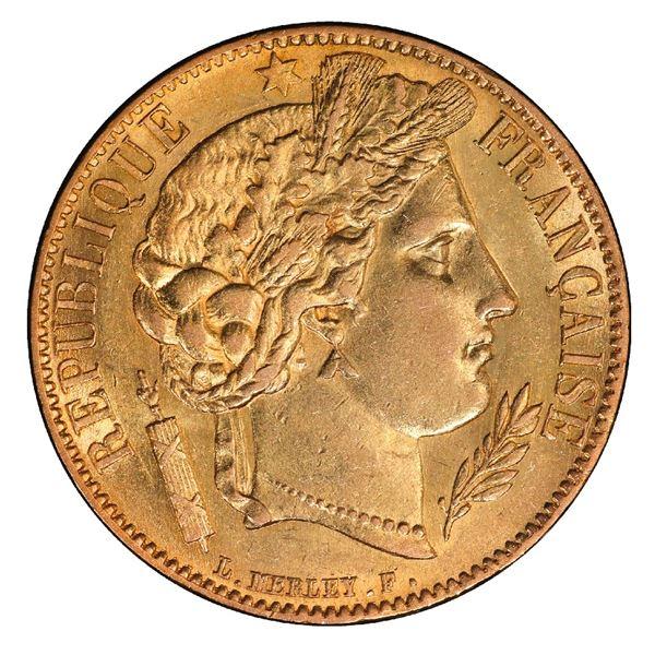 France (Paris mint), gold 20 francs, 1850-A, raised ear, PCGS AU58 / Ship of Gold special presentati