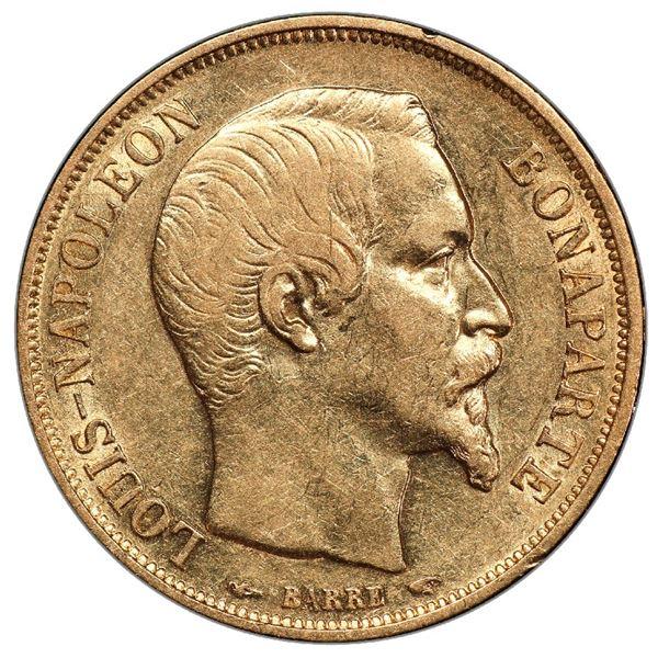 France (Paris mint), gold 20 francs, Louis Napoleon, 1852-A, PCGS AU55 / Ship of Gold special presen
