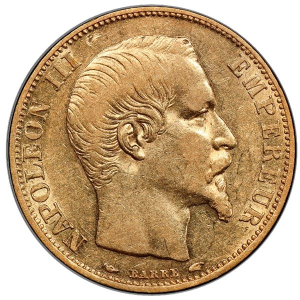 France (Paris mint), gold 20 francs, Napoleon III, 1854-A, PCGS AU53 / Ship of Gold special presenta