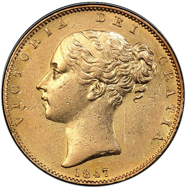 Great Britain (London, England), gold sovereign, Victoria (young head), 1847, PCGS AU55 / Ship of Go
