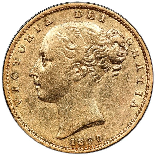 Great Britain (London, England), gold sovereign, Victoria (young head), 1850, inverted A for V in Vi