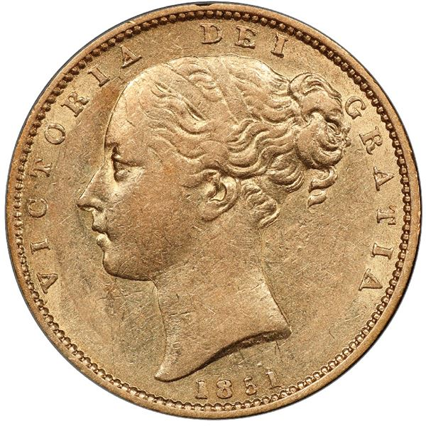Great Britain (London, England), gold sovereign, Victoria (young head), 1851, PCGS AU53 / Ship of Go