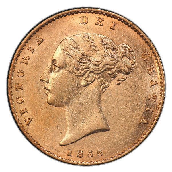 Great Britain (London, England), gold 1/2 sovereign, Victoria (young head), 1855, PCGS AU58 / Ship o
