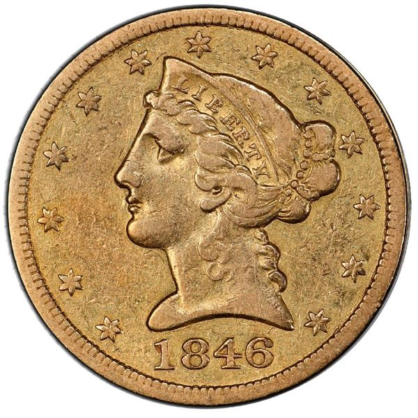 USA (Philadelphia mint), gold $5 half eagle, 1846, large date, PCGS VF35 / Ship of Gold special pres