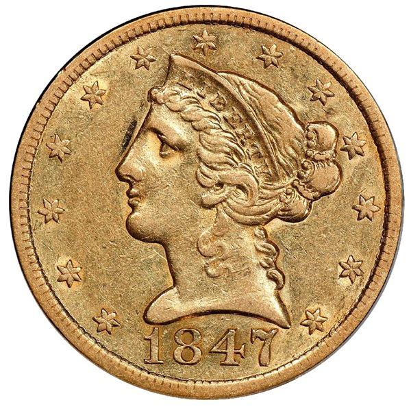 USA (Philadelphia mint), gold $5 half eagle, 1847, PCGS AU50 / Ship of Gold special presentation cas