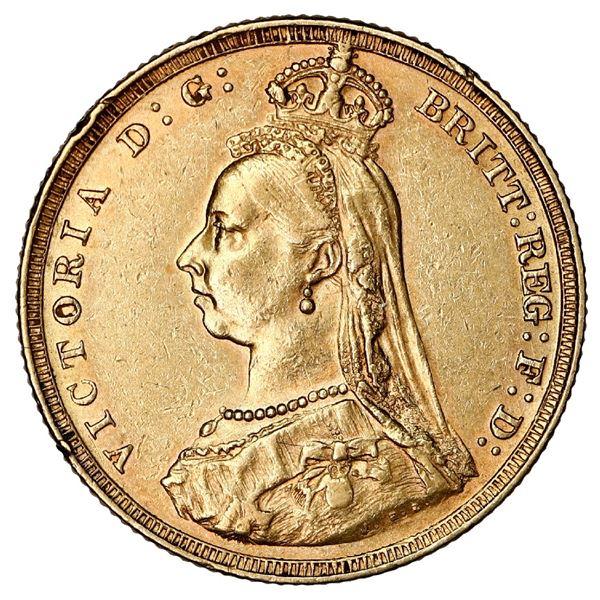 Melbourne, Australia, gold sovereign, Victoria (jubilee head), 1887-M, in original 1932 box (rare).