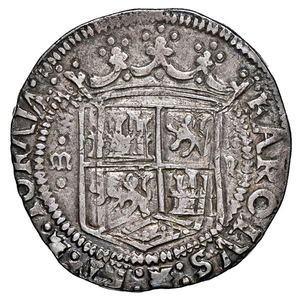 Mexico City, Mexico, 4 reales, Charles-Joanna,  Early Series,  assayer R, PLVS in rounded panel, NGC