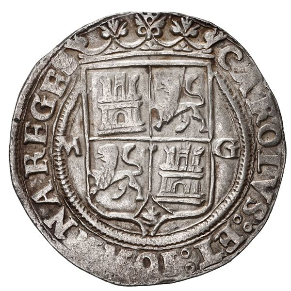 """Mexico City, Mexico, 2 reales, Charles-Joanna, """"Late Series,"""" assayer G to right, mintmark M to left"""