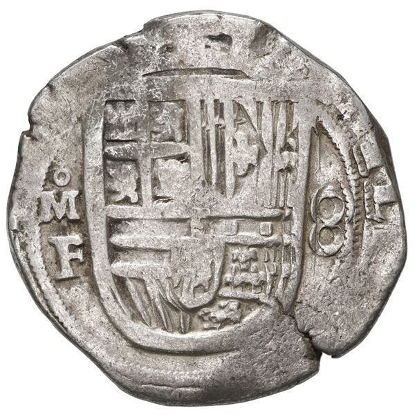 Mexico City, Mexico, cob 8 reales, Philip II, assayer F, with pomegranate-like ornament for o in min