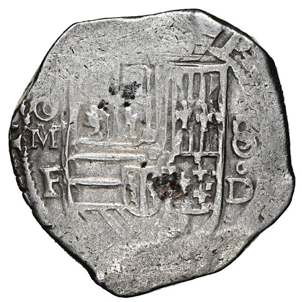 Mexico City, Mexico, cob 8 reales, Philip II, assayer F-oD, with oM-F to left and 8-oD to right, rar