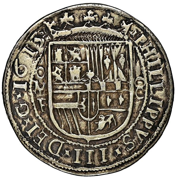 Mexico City, Mexico, cob 8 reales Royal (galano), 1613 F, extremely rare, NGC VF details / mount rem