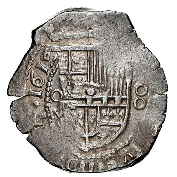 Mexico City, Mexico, cob 8 reales, 1615/4 F, very rare, NGC AU 58, finest and only example in NGC ce
