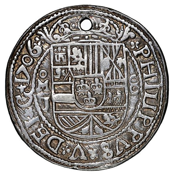 Mexico City, Mexico, cob 8 reales Royal (galano), 1706 J, extremely rare, NGC XF details / holed, ex