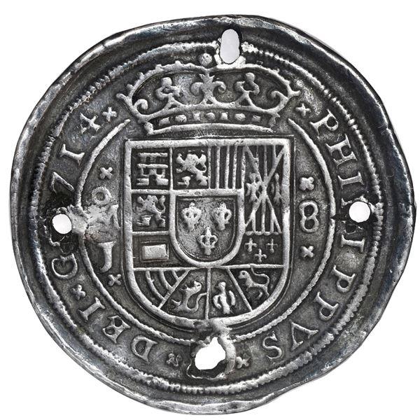 Mexico City, Mexico, cob 8 reales Royal (galano), 1714J, very rare, NGC VF details / holed.