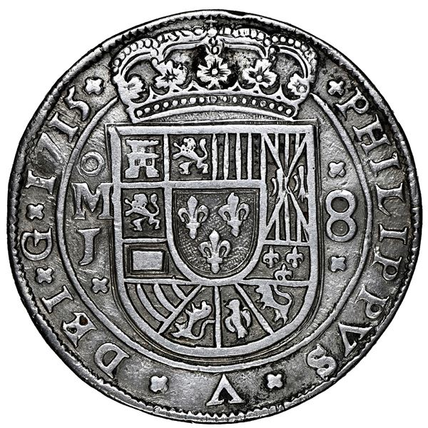 Mexico City, Mexico, cob 8 reales Royal (galano), 1715 J, rare, NGC AU details / plugged, whizzed.