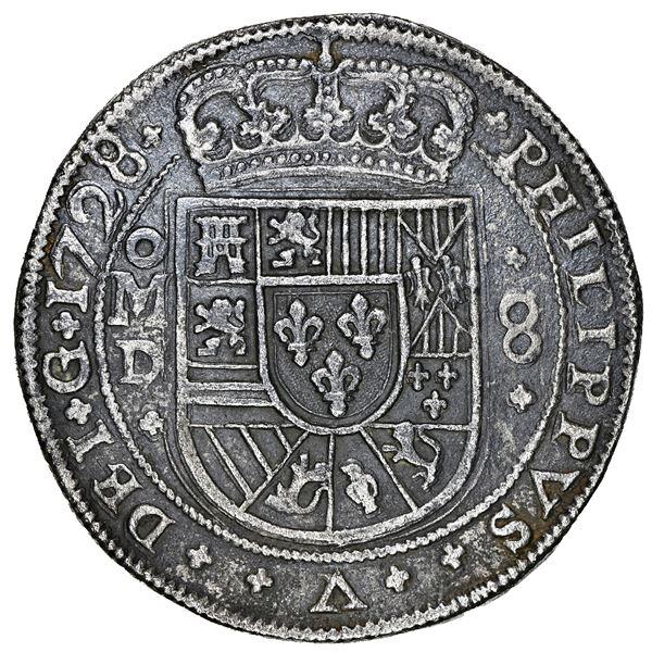 Mexico City, Mexico, cob 8 reales Royal (galano), 1728/6/5 assayer D, PHILIPPVS/LVDOVICVS, unique, N