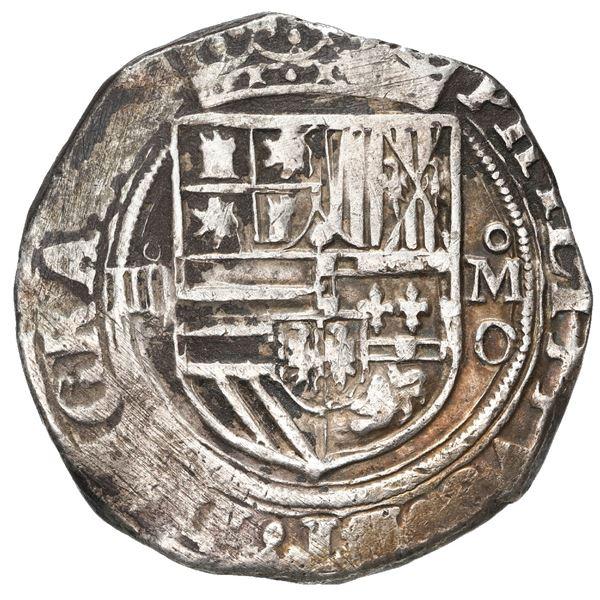 Mexico City, Mexico, cob 4 reales, Philip II, assayer O below mintmark oM to right, denomination o-I