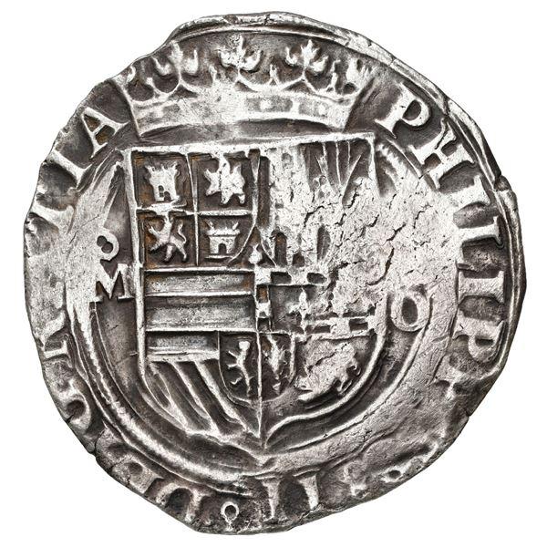 Mexico City, Mexico, cob 4 reales, Philip II, assayer O below denomination oIIII to right, mintmark