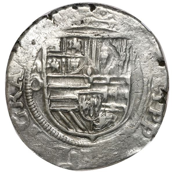 Mexico City, Mexico, cob 4 reales, Philip II, assayer O below mintmark oM to left, error with no den