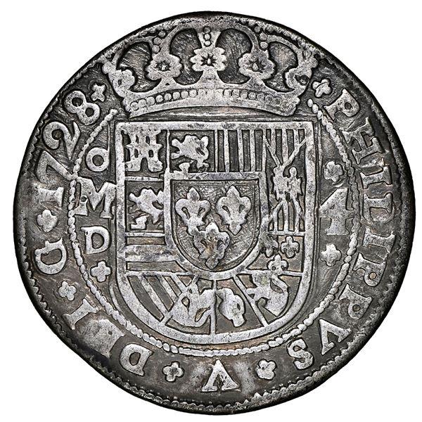 Mexico City, Mexico, cob 4 reales Royal (galano), 1728/5 D, PHILIPPVS/LVDOVICVS, unique, NGC VF deta