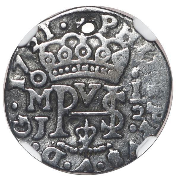 Mexico City, Mexico, cob 1/2 real Royal (galano), 1721 J, rare, NGC VF details / holed, ex-Rudman.