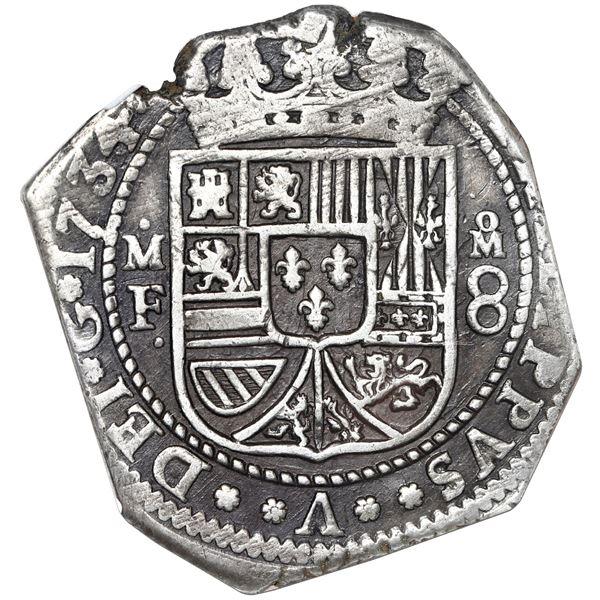 Mexico City, Mexico, klippe 8 reales, 1734/3 MF, NGC XF 45.
