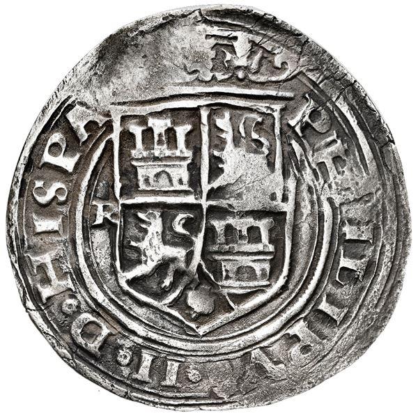 Lima, Peru, 4 reales, Philip II, assayer R (small) to left, motto PL-VSV-L, legends HISPA / NIARVM.