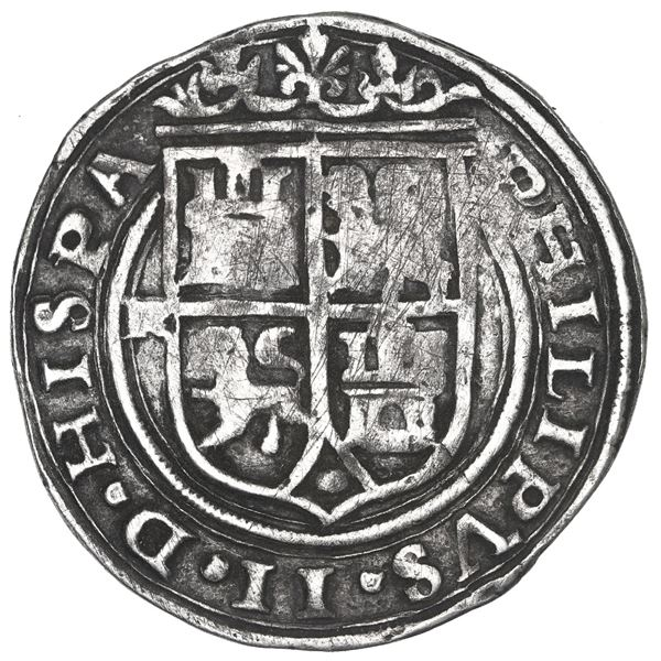 Lima, Peru, 4 reales, Philip II, assayer X/R (small) to left (extremely rare), motto PL-VSV-LT, lege