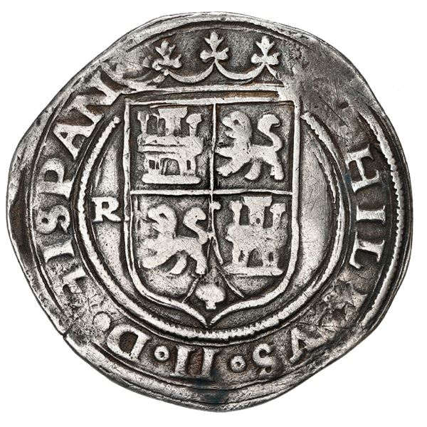 Lima, Peru, 2 reales, Philip II, assayer R to left, motto PL-VSVT-R above denomination, legends HISP