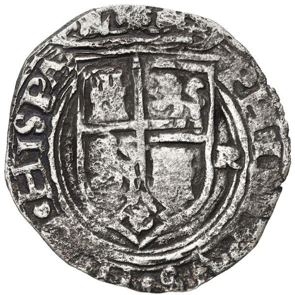 Lima, Peru, 2 reales, Philip II, assayer R to right, motto PL-VSV-L above denomination, legends HISP