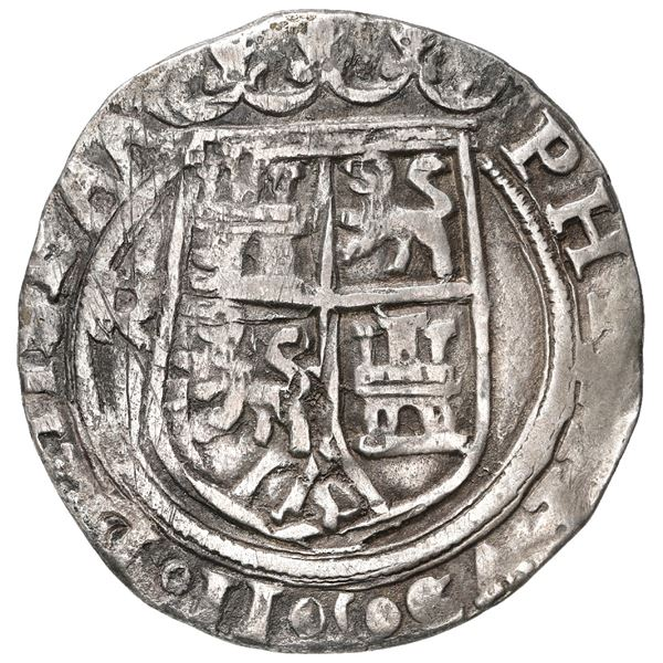 Lima, Peru, 2 reales, Philip II, assayer R to left, motto PL-VSVL-TR above denomination, legends HIS