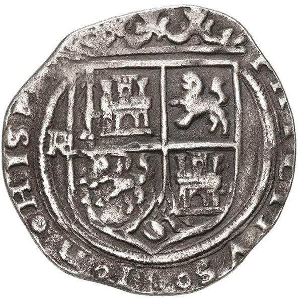 Lima, Peru, 1 real, Philip II, assayer R to left, motto P-LVS-V above dot, legends HISPA / NIARVM.