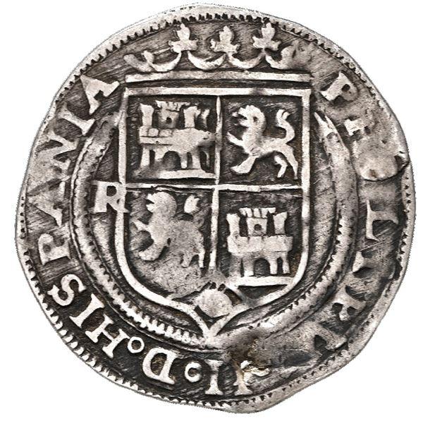 Lima, Peru, 1 real, Philip II, assayer R to left, motto PL-VSV-L below dot, legends HISPANIA / ARVM.