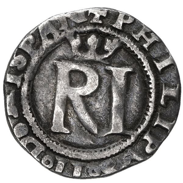 Lima, Peru, 1/2 real, Philip II, assayer R to left, legends HISPAN / IARVM ET INDIARV.